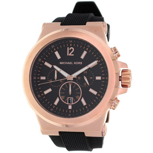 08f2a08d375e Shop Michael Kors Men s MK8184 Rose Goldtone Watch - Black - Free Shipping  Today - Overstock - 6232993