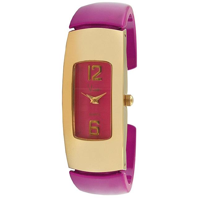 Viva Goldtone Pink Cuff Watch