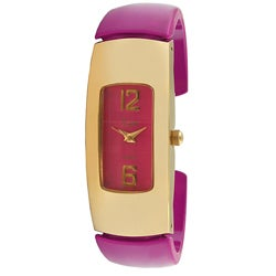 Viva Goldtone Pink Cuff Watch