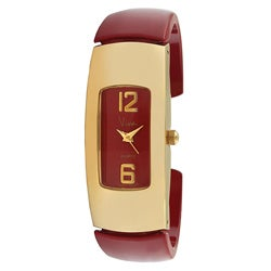 Viva Goldtone Red Cuff Watch