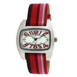 Viva Women's Red Number Grosgrain Strap Watch