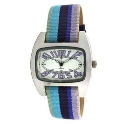 Viva Women's Multi-color Grosgrain Strap Watch