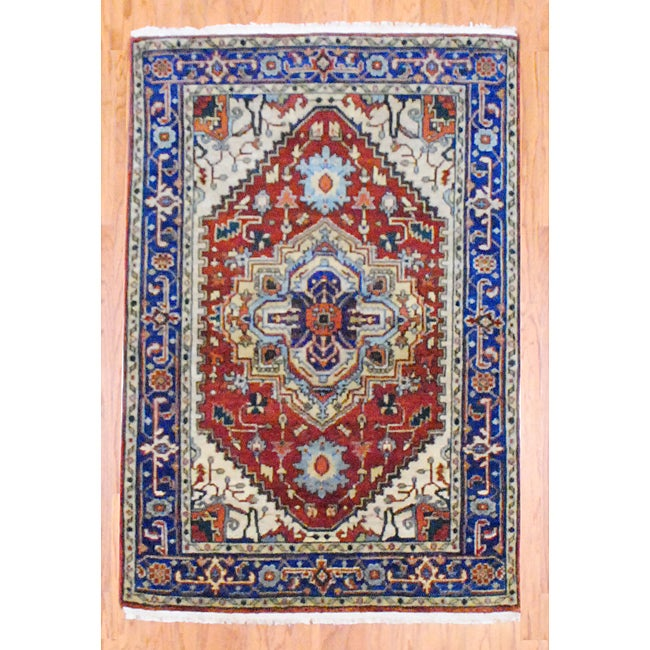 Indo Hand-knotted Heriz Rust and Navy Wool Rug (4' x 6') - Thumbnail 0