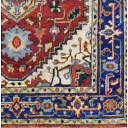 Indo Hand-knotted Heriz Rust and Navy Wool Rug (4' x 6') - Thumbnail 2