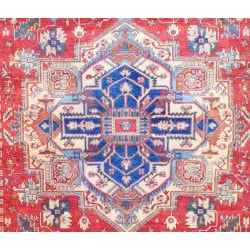 Indo Hand-knotted Heriz Rust and Navy Wool Rug (9' x 12') - Thumbnail 1