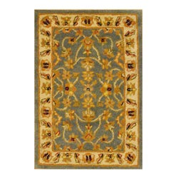 Herat Oriental Indo Hand-tufted Mahal Blue/ Ivory Wool Rug (2' x 3')