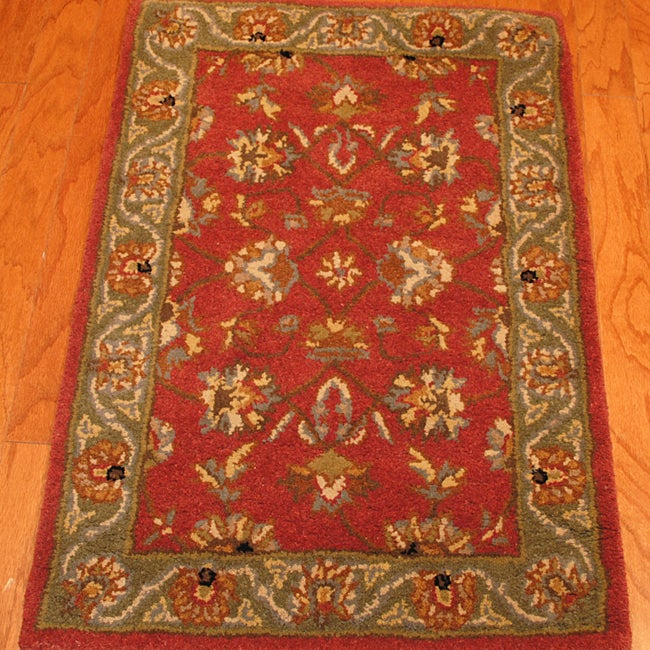 Indo Hand-Tufted Mahal Rust and Green Wool Rug (2 x 3)