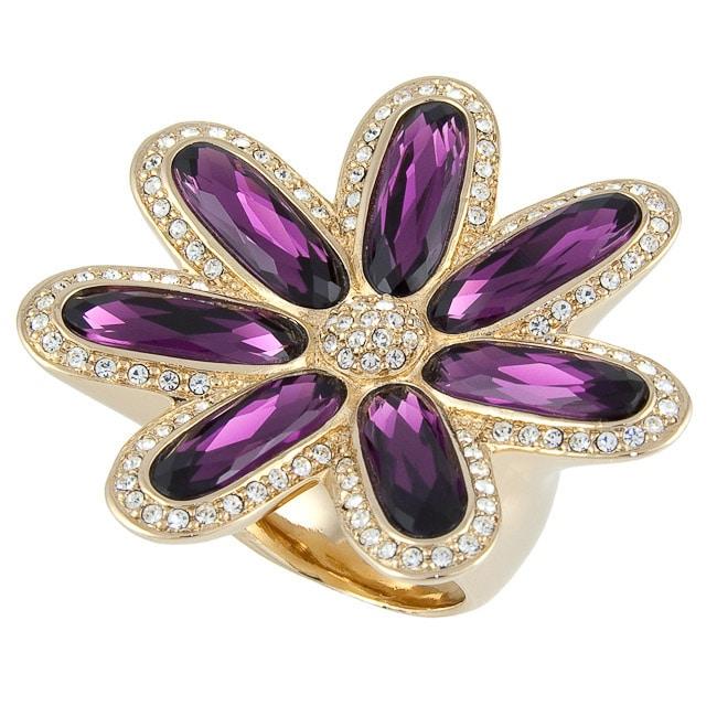 e724da5490 Michelle Monroe Goldtone Flower Ring Made with SWAROVSKI Elements