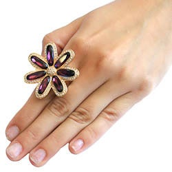 Michelle Monroe Goldtone Flower Ring Made with SWAROVSKI Elements