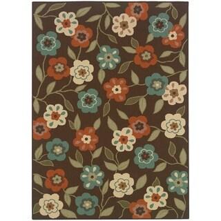 StyleHaven Floral Brown/Ivory Indoor-Outdoor Area Rug - 7'10 x 10'