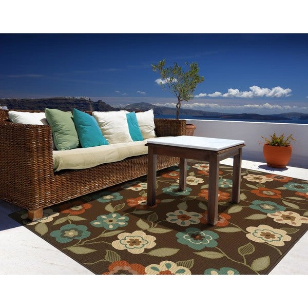 "StyleHaven Floral Brown/Ivory Indoor-Outdoor Area Rug (7'10x10'10) - 7'10"" x 10'10"""