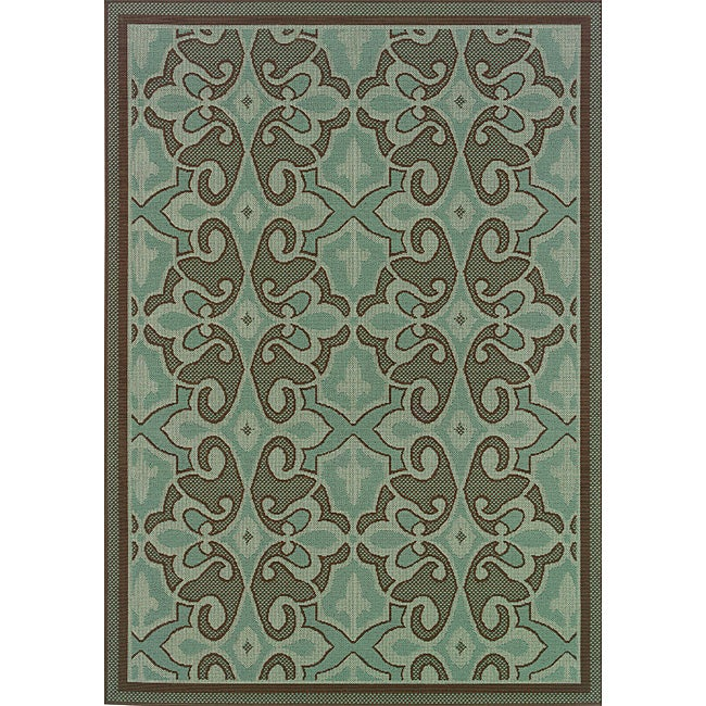 Abstract Pattern Blue Brown Outdoor Area Rug 7 10 x 10 10