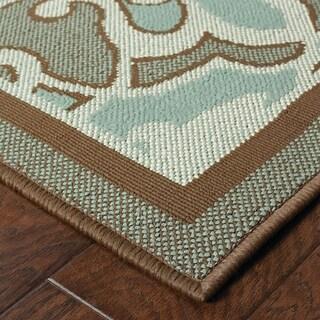 StyleHaven Traditional Blue/Brown Indoor-Outdoor Area Rug - 7'10 x 10'