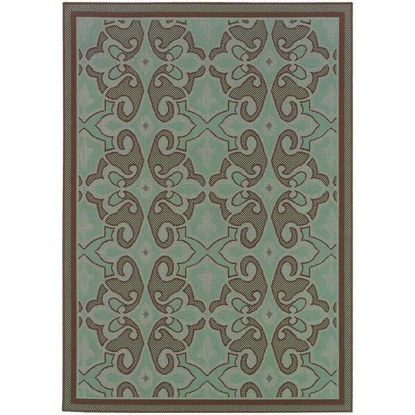 StyleHaven Traditional Blue/Brown Indoor-Outdoor Area Rug (7'10x10'10)