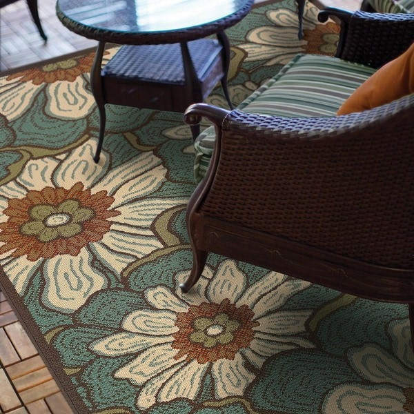 Copper Grove Boronia Blue/Brown Indoor-Outdoor Area Rug - 7'10 x 10'10