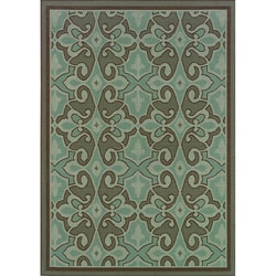 "Blue/Brown Outdoor Area Rug (3'7"" x 5'6"")"