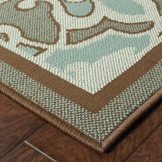 StyleHaven Traditional Blue/Brown Indoor-Outdoor Area Rug - 3'7 x 5'6