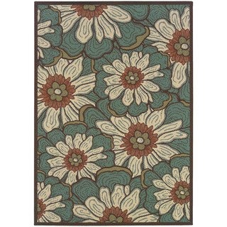 StyleHaven Floral Blue/Brown Indoor-Outdoor Area Rug (5'3x7'6)