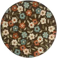 "StyleHaven Floral Brown/Ivory Indoor-Outdoor Area Rug (7'10 Round) - 7'10"" x 7'10"" rnd"