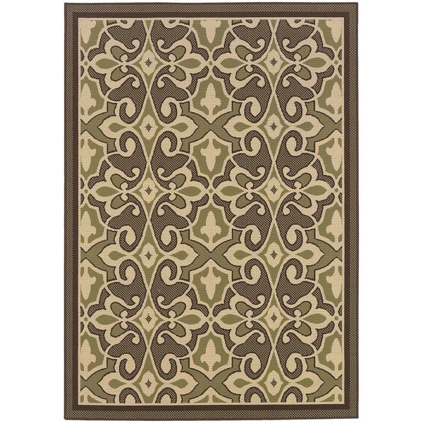 "StyleHaven Traditional Green/Ivory Indoor-Outdoor Area Rug (7'10x10'10) - 7'10"" x 10'10"""