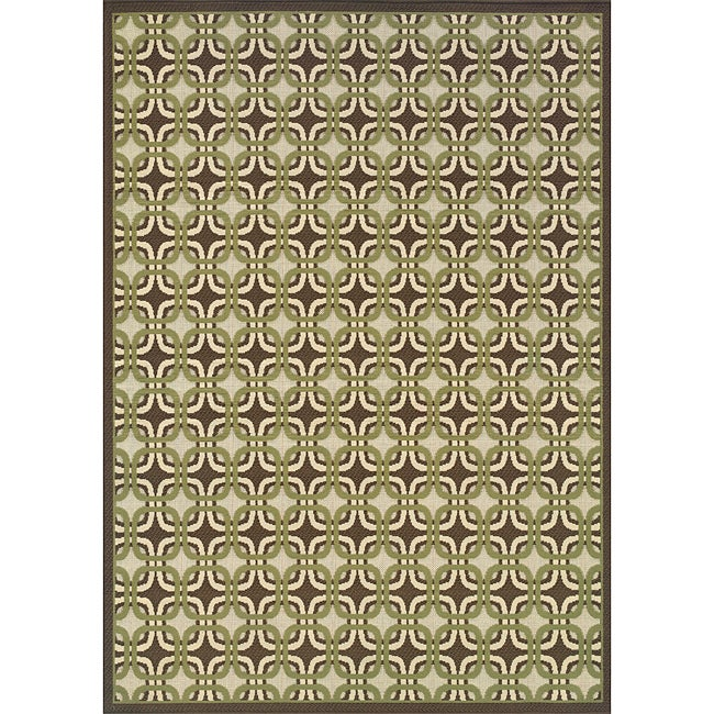 Brown/ Green Outdoor Area Rug (7'10 x 10') - Thumbnail 0