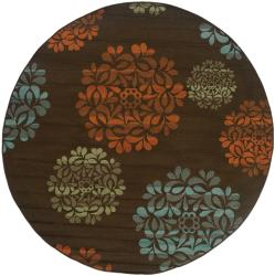 StyleHaven Floral Brown/Blue Indoor-Outdoor Area Rug (7'10 Round)