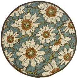 StyleHaven Floral Blue/Brown Indoor-Outdoor Area Rug (7'10 Round)