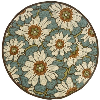 StyleHaven Floral Blue/Brown Indoor-Outdoor Area Rug (7'10 Round)