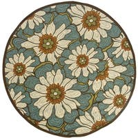 Copper Grove Boronia Blue/Brown Indoor-Outdoor Area Rug - 7'10 Round