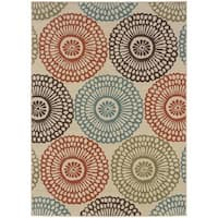 Clay Alder Home Variadero Floral Beige/ Blue Indoor-Outdoor Area Rug - 7'10 x 10'10
