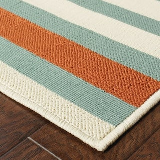 StyleHaven Stripes Blue/Ivory Indoor-Outdoor Area Rug (7'10x10'10)
