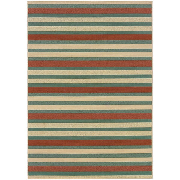 StyleHaven Stripes Blue/Ivory Indoor-Outdoor Area Rug - 7'10 x 10'