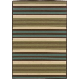 StyleHaven Stripes Green/Blue Indoor-Outdoor Area Rug (7'10x10'10)