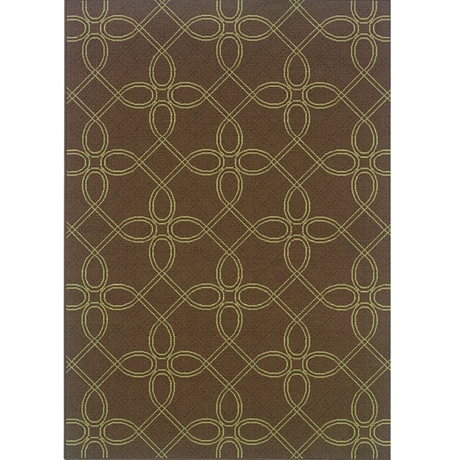 Brown Green Geometric Outdoor Area Rug 7 10 x 10 10