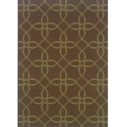 Brown/Green Geometric Outdoor Area Rug (7'10 x 10'10)