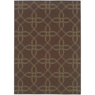 StyleHaven Lattice Brown/Green Indoor-Outdoor Area Rug (7'10x10'10)