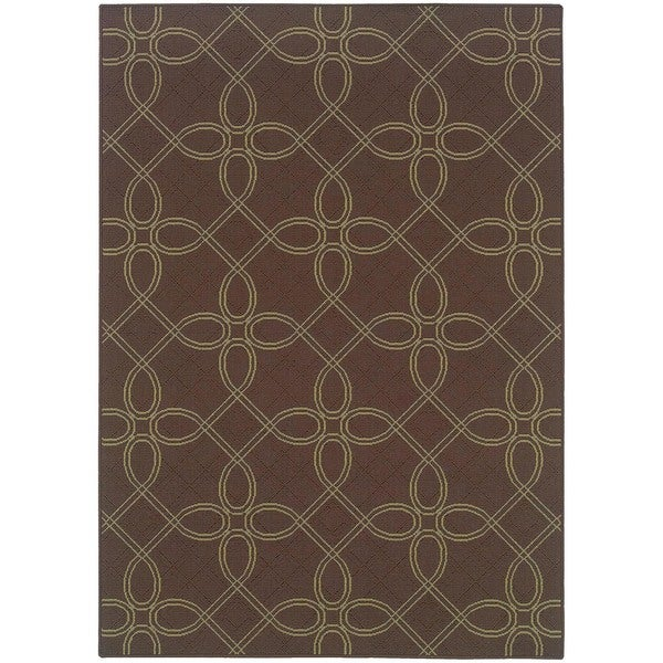"StyleHaven Lattice Brown/Green Indoor-Outdoor Area Rug (7'10x10'10) - 7'10"" x 10'10"""