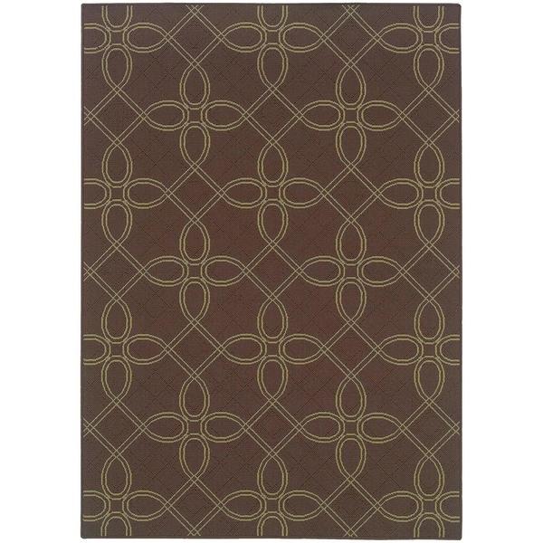StyleHaven Lattice Brown/Green Indoor-Outdoor Area Rug (7'10x10'10)