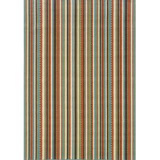 StyleHaven Stripes Green/Blue Indoor-Outdoor Area Rug (7'10x10'10)