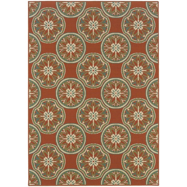 StyleHaven Floral Orange/Ivory Indoor-Outdoor Area Rug - 7'10 x 10'