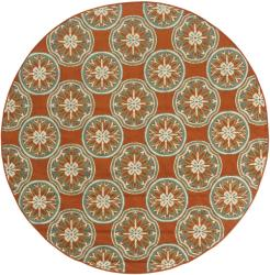 StyleHaven Floral Orange/Ivory Indoor-Outdoor Area Rug (7'10 Round)