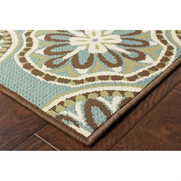 StyleHaven Floral Blue/Ivory Indoor-Outdoor Area Rug (7'10x10'10)