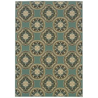 StyleHaven Floral Blue/Ivory Indoor-Outdoor Area Rug - 7'10 x 10'