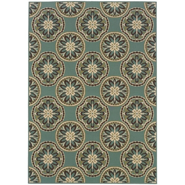 "StyleHaven Floral Blue/Ivory Indoor-Outdoor Area Rug (7'10x10'10) - 7'10"" x 10'10"""