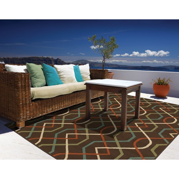 Brown Ivory Outdoor Area Rug 7 10 x 10 10 Free