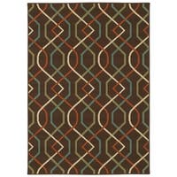 StyleHaven Lattice Brown/Ivory Indoor-Outdoor Area Rug - 7'10 x 10'