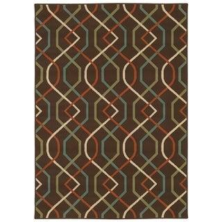 StyleHaven Lattice Brown/Ivory Indoor-Outdoor Area Rug (7'10x10'10)