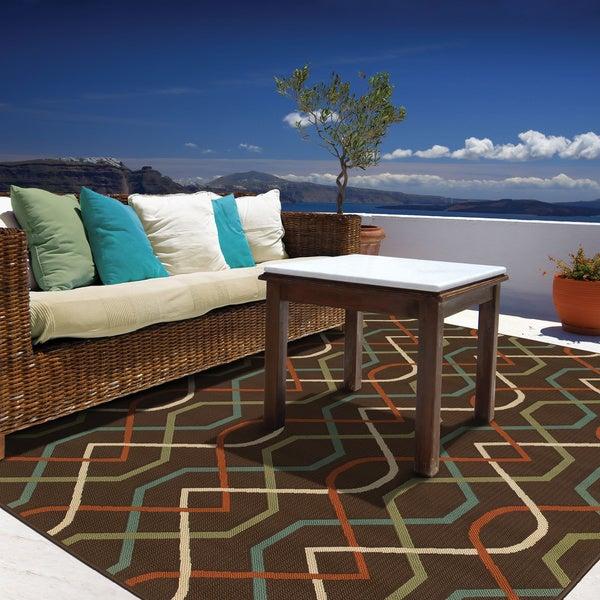 StyleHaven Lattice Brown/Ivory Indoor-Outdoor Area Rug - 7'10 x 10'