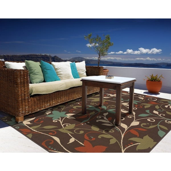 Stylehaven floral brown green indoor outdoor area rug 7 for 10x14 bedroom