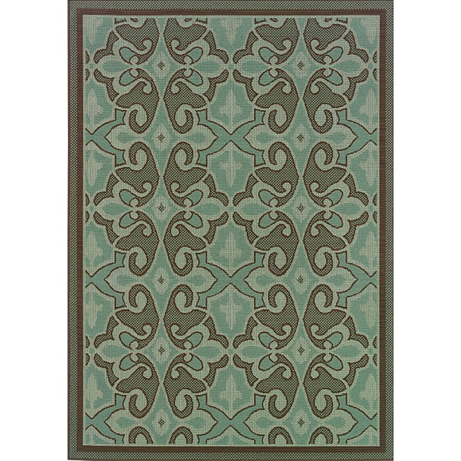 Blue/ Brown Abstract Print Outdoor Area Rug (2'5 x 4'5)